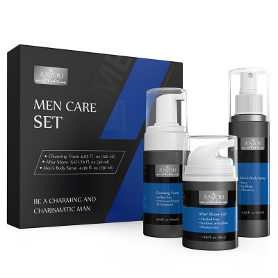 Men's Skin Care Kit - Face Cleansing Foam, After Shave Gel and, Cologne Body Spray for Men