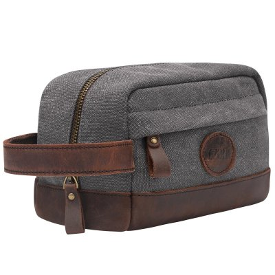 S-ZONE Vintage Leather Canvas Toiletry Bag