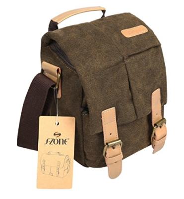 S-ZONE Vintage Waterproof Canvas Leather Trim Shoulder Messenger Bag