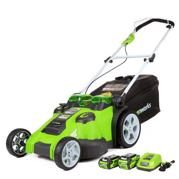 Greenworks 20-Inch 40V Twin Force Cordless Lawn Mower with Batteries